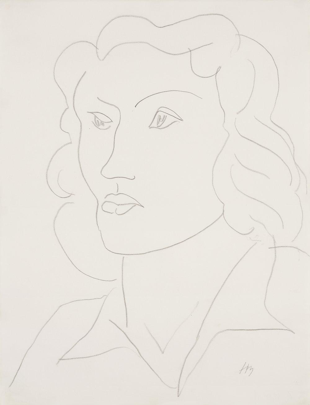 Henri Matisse   Tête de femme  1945 Pencil 52,5 x 40,5 cm