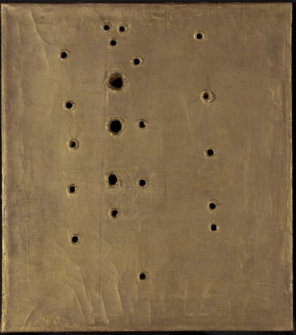 Lucio Fontana   Concetto Spaziale, Attesa  1960–61 Oil on canvas 52 x 45 cm