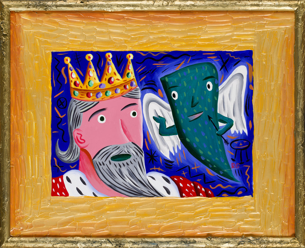 Rodney Alan Greenblat   The Visit  1984 Acrylic on Masonite with painted frame 43 x 53,5 cm (including frame)