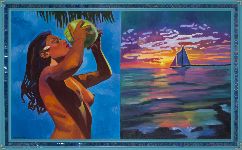 Rhonda Zwillinger   I need a tropical vacation I  1984 Oil on canvas 92,5 x 152,5 cm