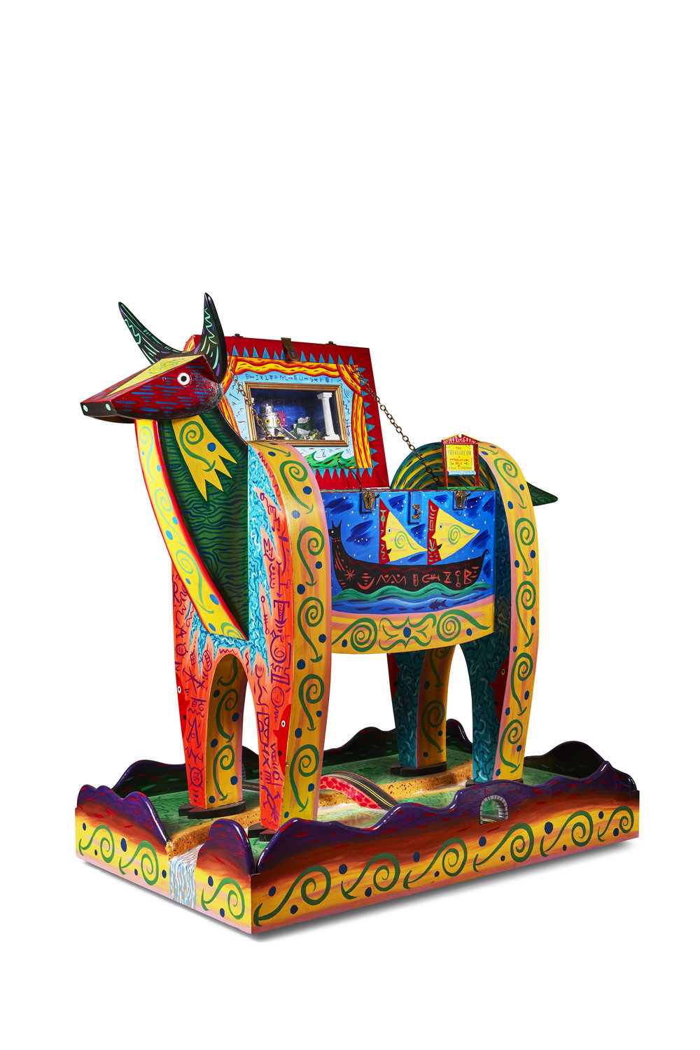Rodney Alan Greenblat   Treasure Ox  1984 Acrylic on wood with assemblage, mixed media and lights 142 x 81 x 160 cm