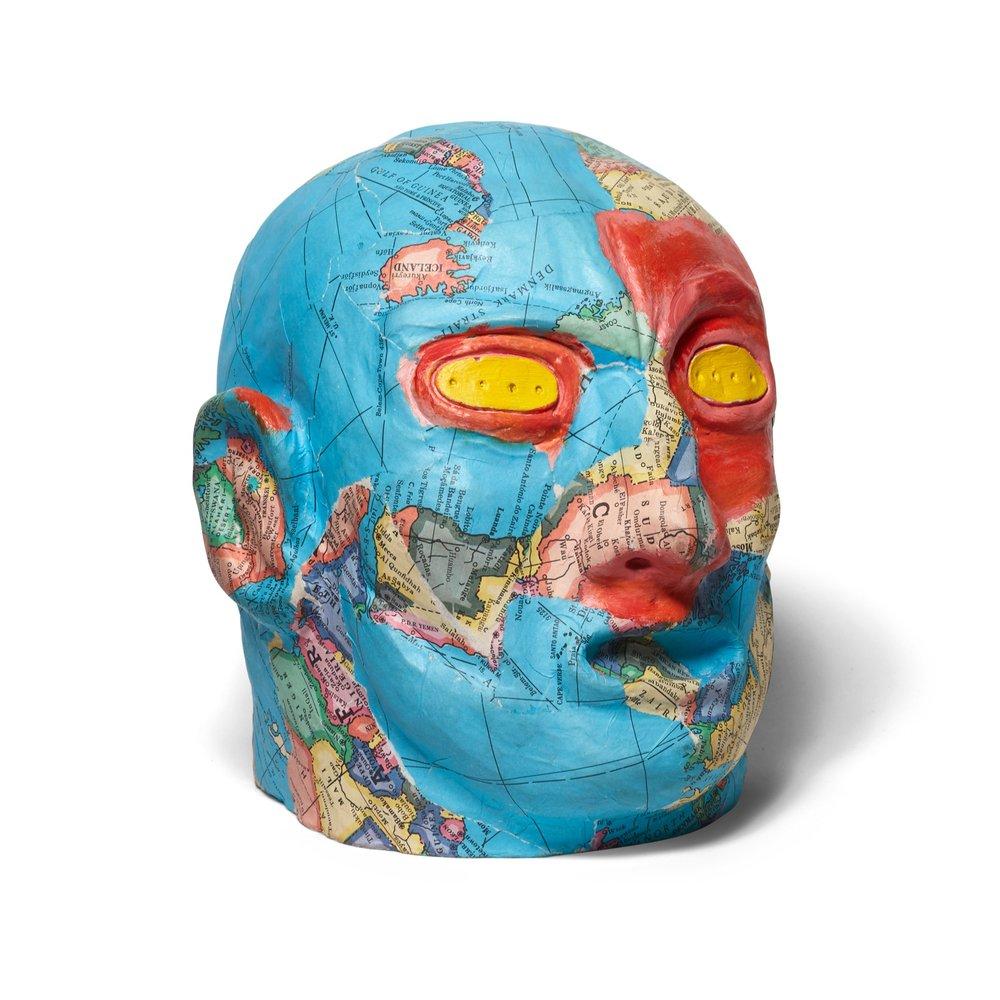 David Wojnarowicz   Head #5, from the Metamorphosis series  1984 Plaster head, individually painted, collaged 24,2 x 24,1 x 24,1 cm