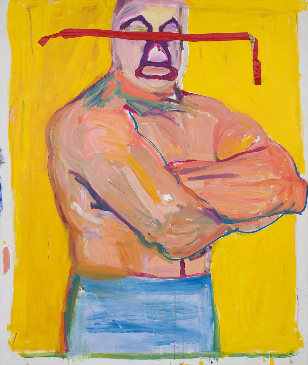 Stephen Lack   Mil (Mil Mascaras /The Wrestler)  1984 Acrylic and tape on canvas 210 x 177,5 cm