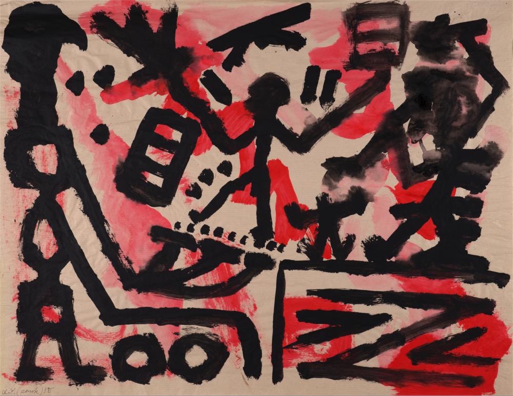 A. R. Penck   Übergang  1980 Gouache on thin paper 74 x 100 cm