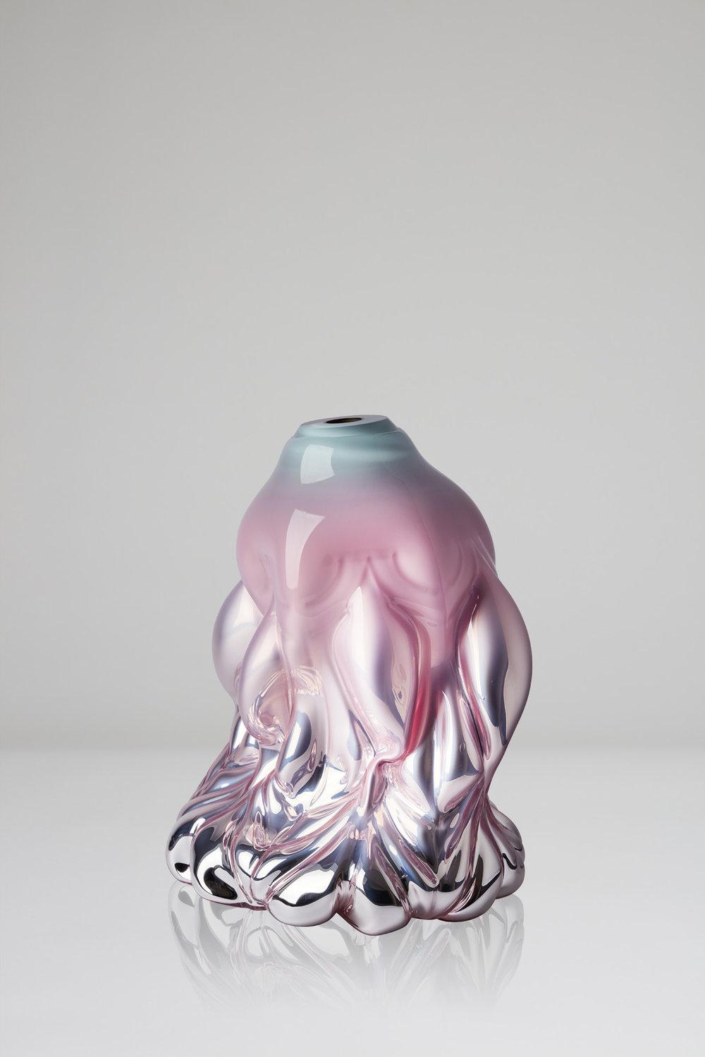 Hanna Hansdotter   Goldfish print, pink celadon metallic , 2018 Shape-blown glass, silver foiled 49 x 34 cm Edition 1 + 2 AP