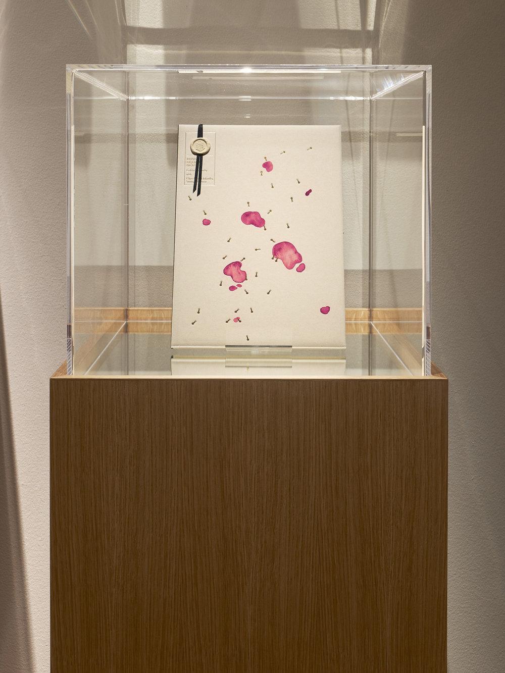 Goldin + Senneby   Passive Liquidity Provider,  2013 Watercolor, foil, sealing wax, wood (oak veneer), mirror, acrylic glas 44 x 60 x 135 cm Edition 1 + 1 AP