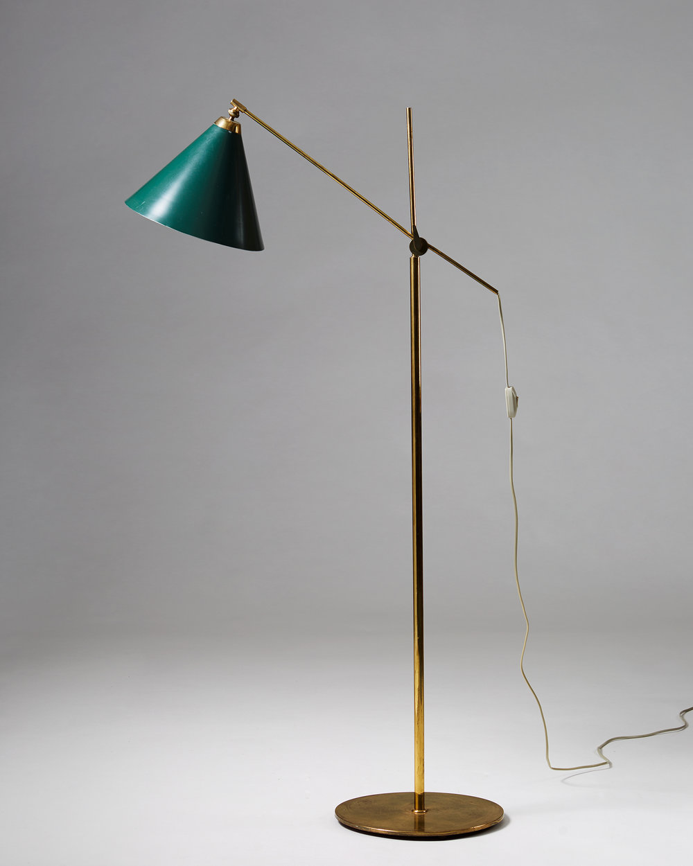 Poul Dinesen  Floor lamp Denmark, 1960's Brass and lacquered metal. Height: 130 cm Shade: 28 cm