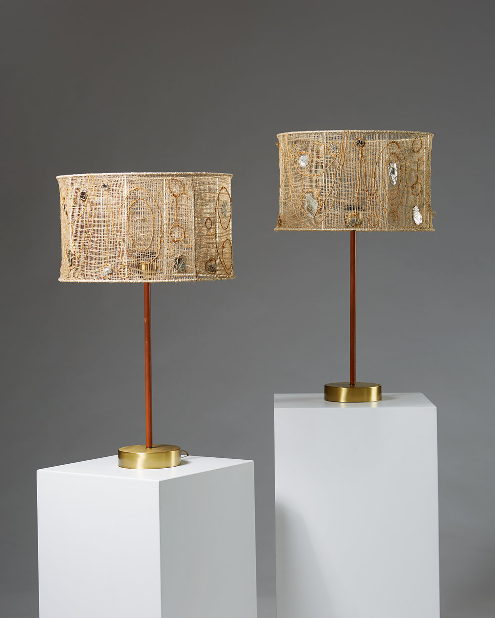 Unknown  Pair of table lamps Sweden, 1955 Brass, leather, linen shades. 65 x 39 cm