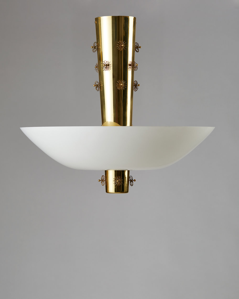 Paavo Tynell  Ceiling lamp Finland, 1950's Brass and opaline glass. 58 x 55 cm