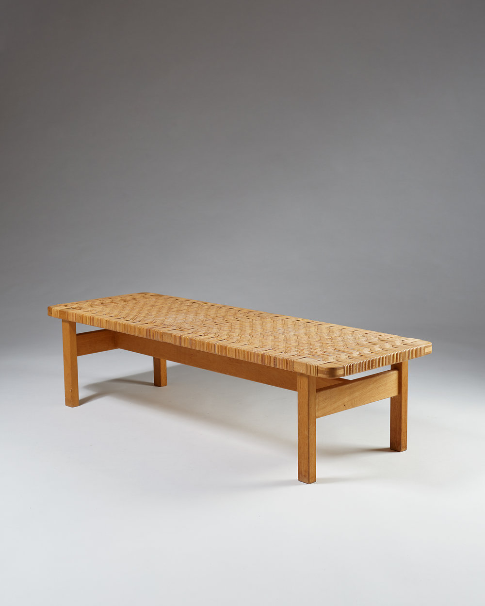 Börge Mogensen   Occasional table/bench model 5272 Denmark, 1950's Oak and cane. 34,5 x 138 x 46 cm