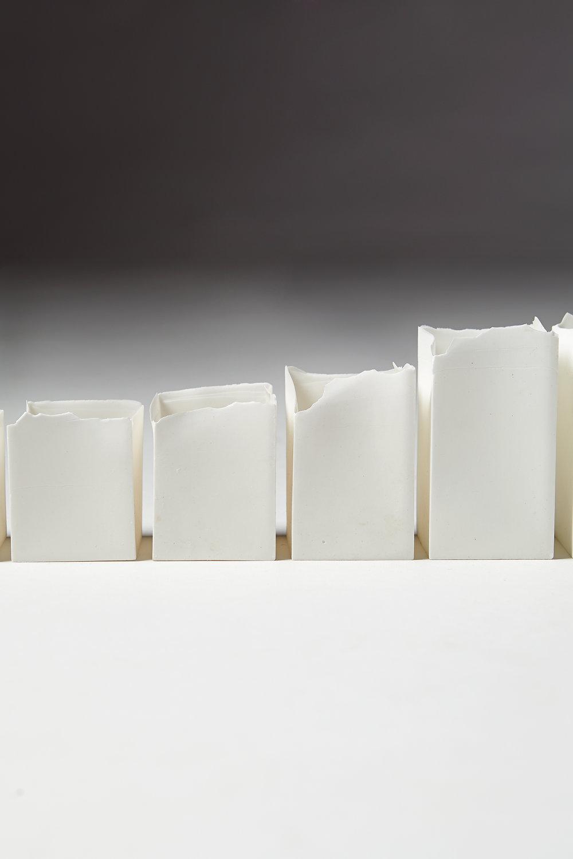 Eszter Imre  Tea light holders Sweden, 2013 Porcelain. 5–12 cm
