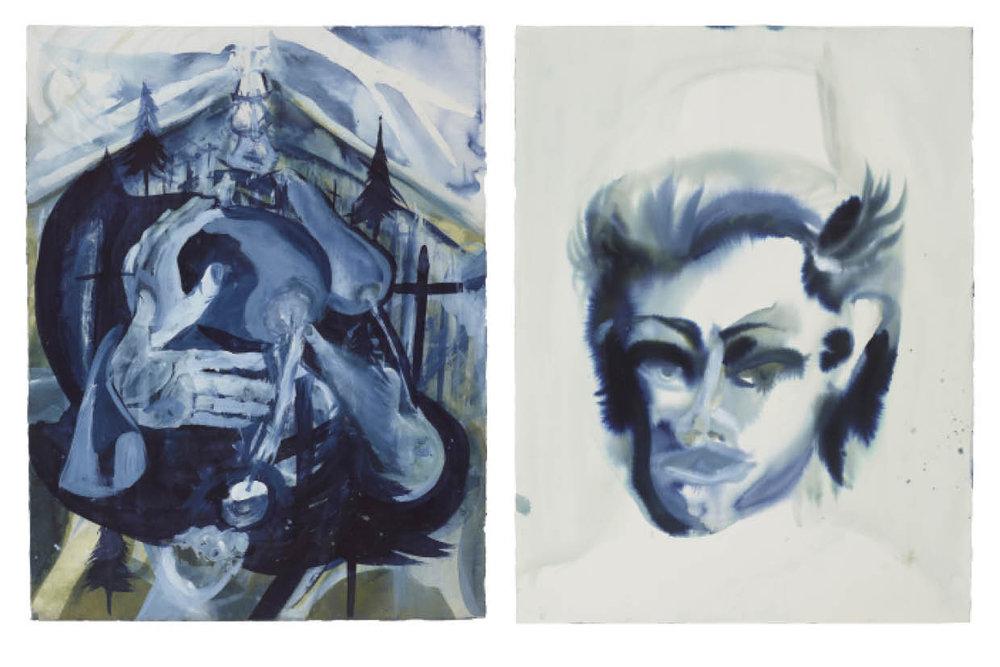 Ulf Rollof   BLUE 5  2009-2019 92 x 129 x 5 cm Indian ink. Acrylic. Cotton Paper.