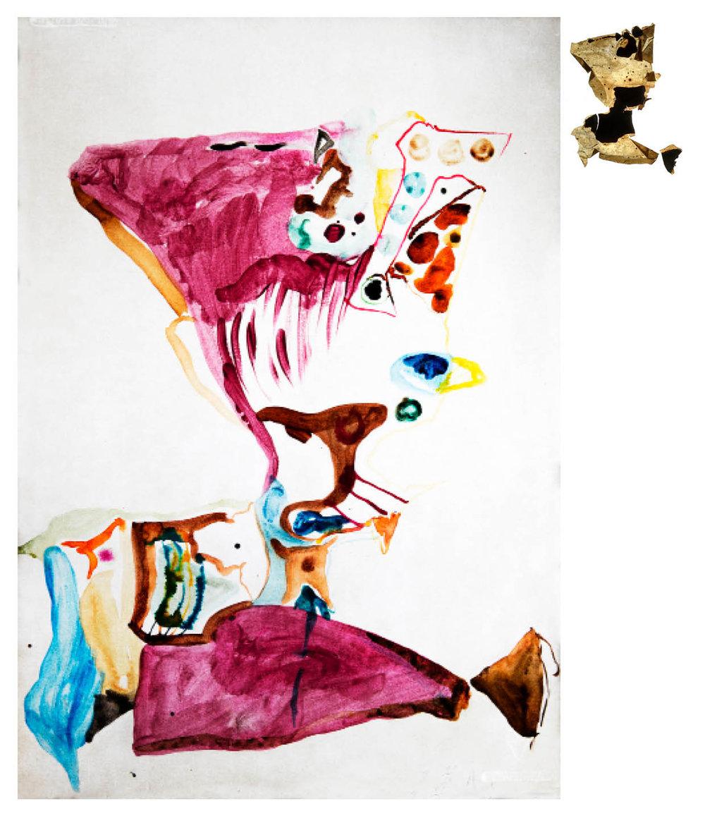 Ulf Rollof   Barkteckning 2  2019 61 x 50 x 10 cm Mixed media. Cotton Paper. Acrylic. Electrical.
