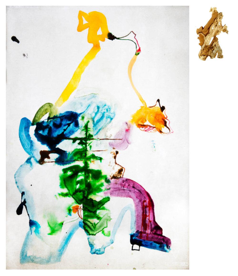 Ulf Rollof   Barkteckning 4  2019 61 x 50 x 10 cm Mixed media. Cotton Paper. Acrylic. Electrical.