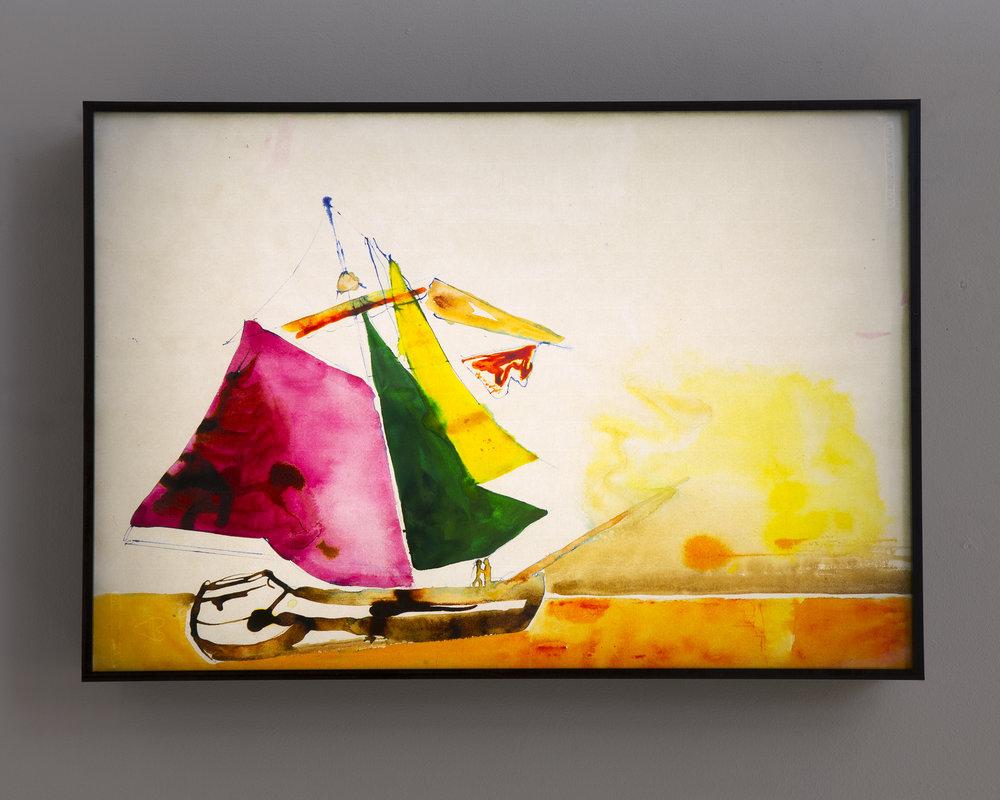 Ulf Rollof   Piratteckning 3  2019 42 x 61 x 10 cm Mixed media. Cotton Paper. Acrylic. Electrical.