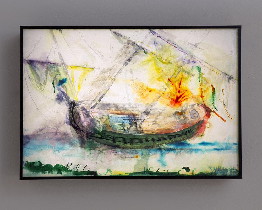 Ulf Rollof   Piratteckning 1  2019 42 x 61 x 10 cm Mixed media. Cotton Paper. Acrylic. Electrical.