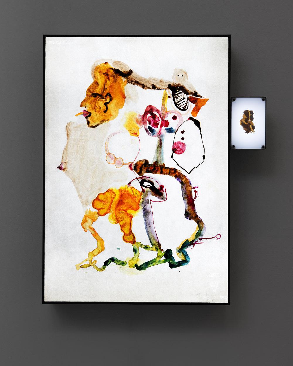 Ulf Rollof   Barkteckning 1  2019 61 x 50 x 10 cm Mixed media. Cotton Paper. Acrylic. Electrical.