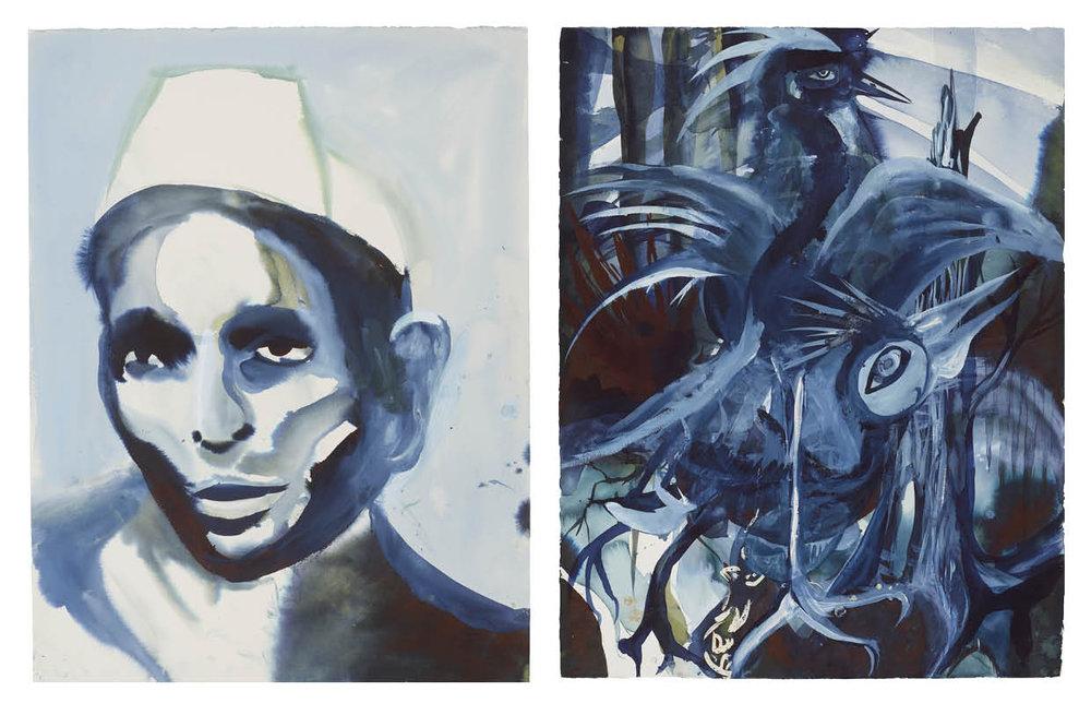 Ulf Rollof   BLUE 4  2009-2019 92 x 129 x 5 cm Indian ink. Acrylic. Cotton Paper.