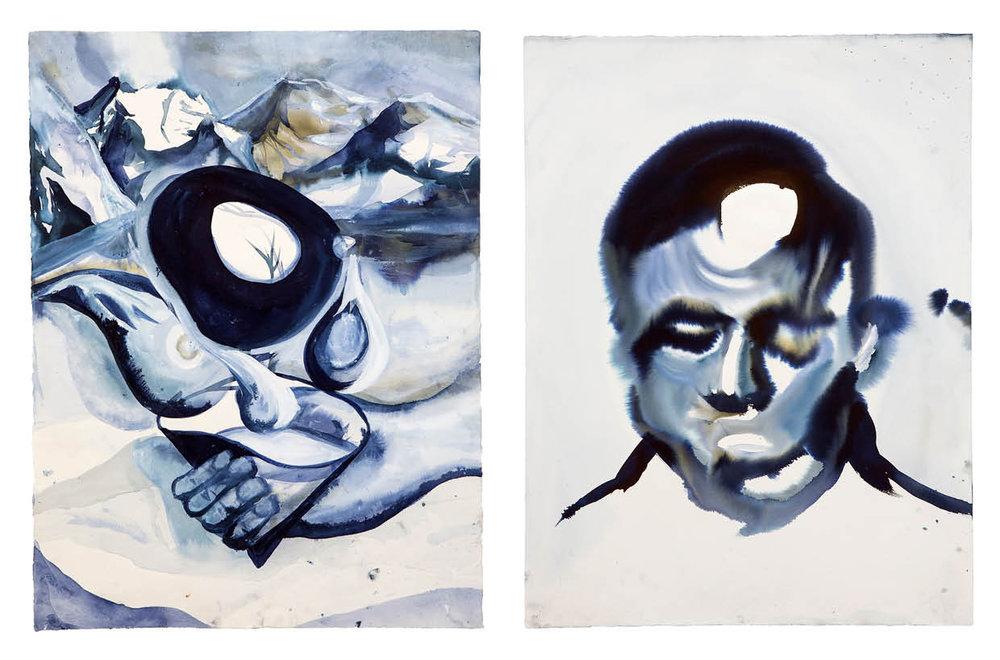 Ulf Rollof   BLUE 3  2009-2019 92 x 129 x 5 cm Indian ink. Acrylic. Cotton Paper.