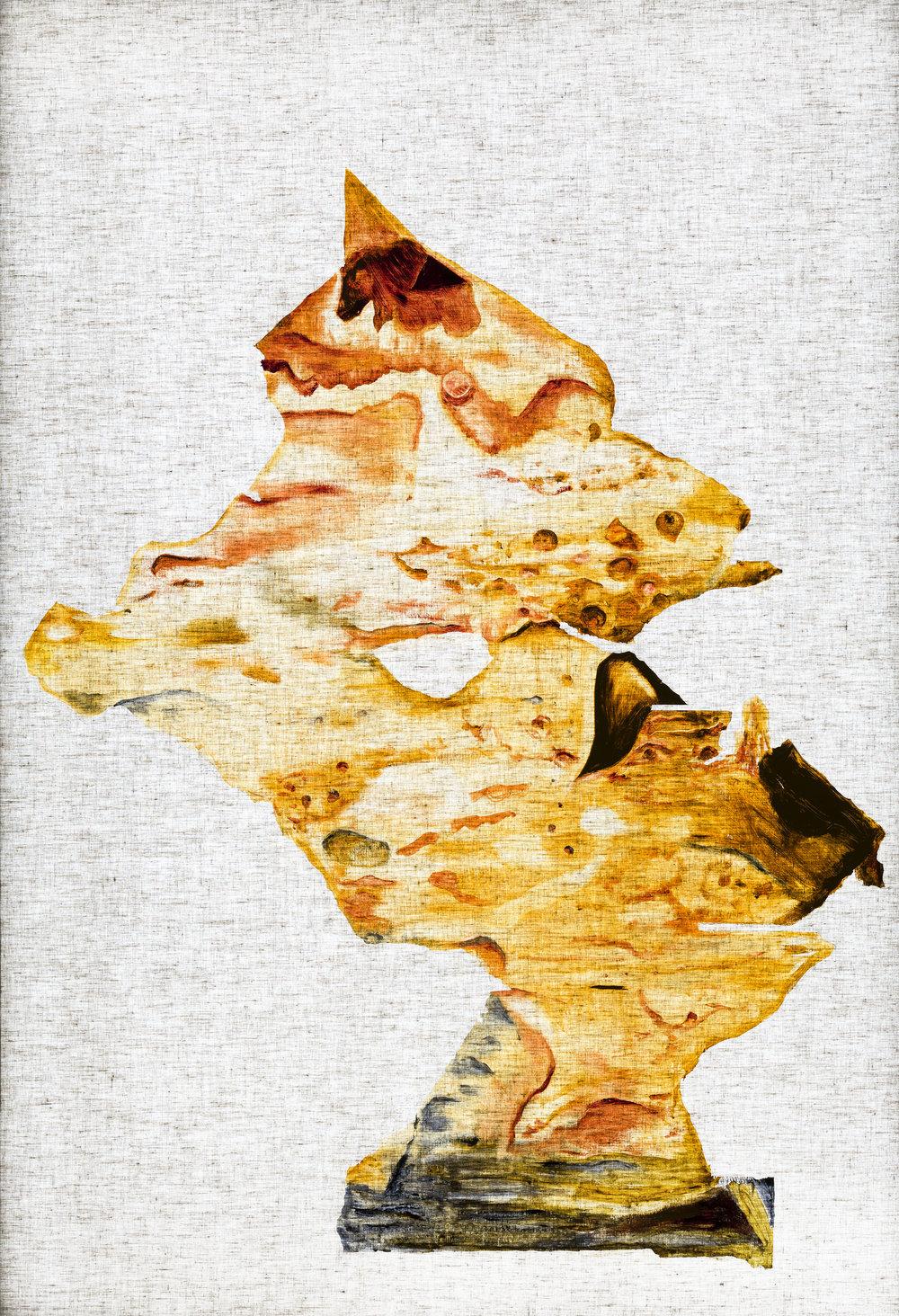 Ulf Rollof   Rorschach-Rollof 1  2019 157 x 107 x 10 cm Oil on linen cloth. LED light box, mixed media.