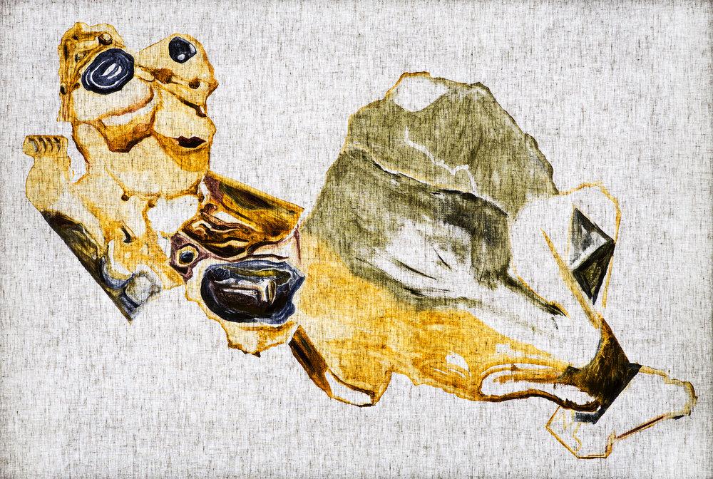 Ulf Rollof   Rorschach-Rollof 2  2019 107 x 157 x 10 cm Oil on linen cloth. LED light box, mixed media.