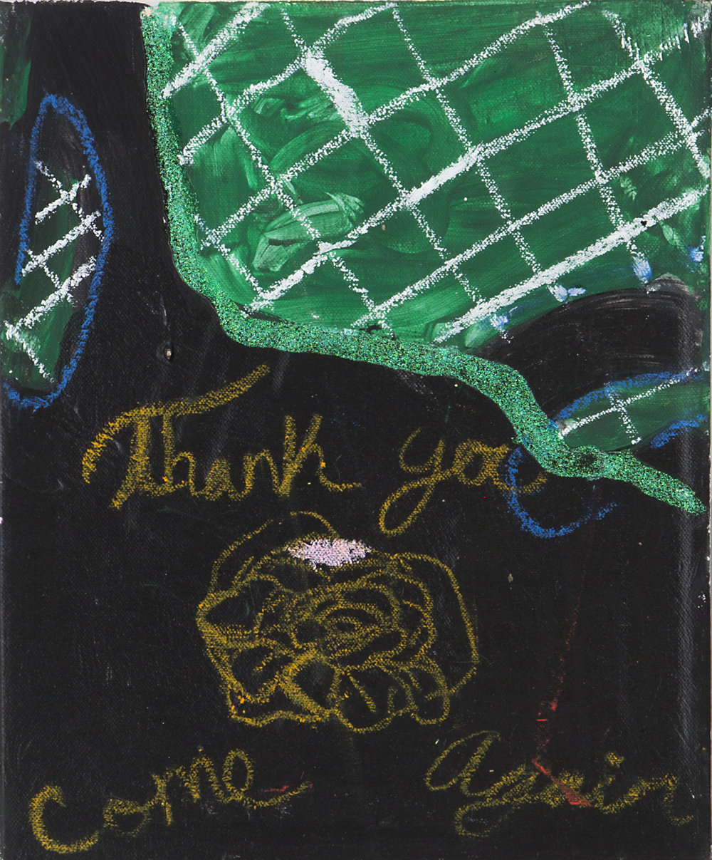 Jonathan Lyndon Chase   Bag on empty lot  2018 Acrylic, oil stick, marker, plastic toy gun, found plastic on canvas 35.5 x 28 cm