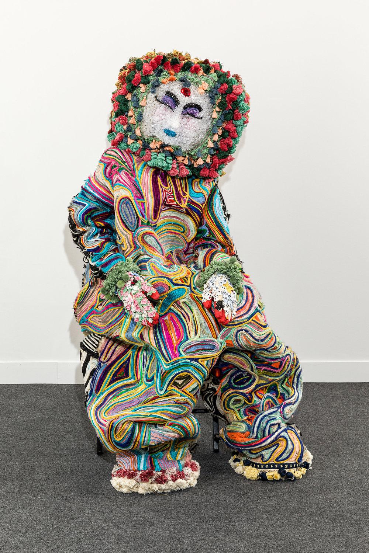 Raúl de Nieves   MIRROR/MIC/KNIFE  2018 Cotton, wool, treads, plastic beads, cardboard, vintage trims 170 x 60 x 40 cm