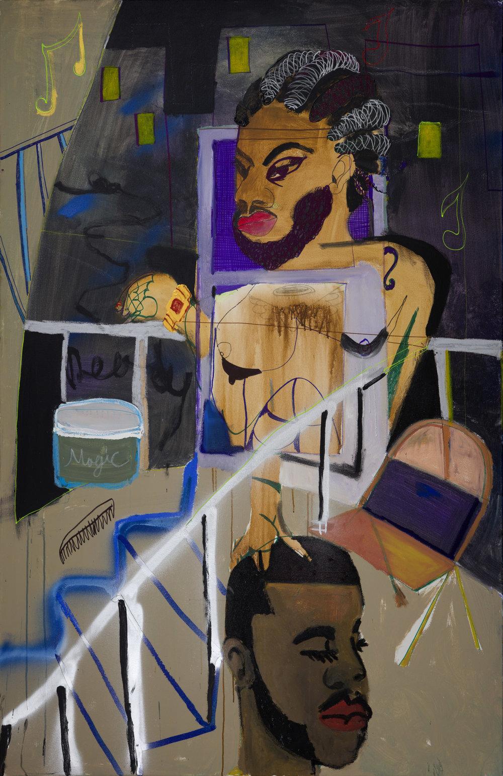 Jonathan Lyndon Chase   Magic Hands  2018 Acrylic paint oil stick glitter marker glitter on canvas 183 x 122 cm