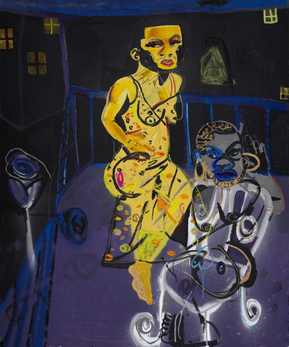 Jonathan Lyndon Chase   Pretty Dark Song  2018 Acrylic paint glitter marker oil stick oil paint on canvas 183 x 152.5 cm