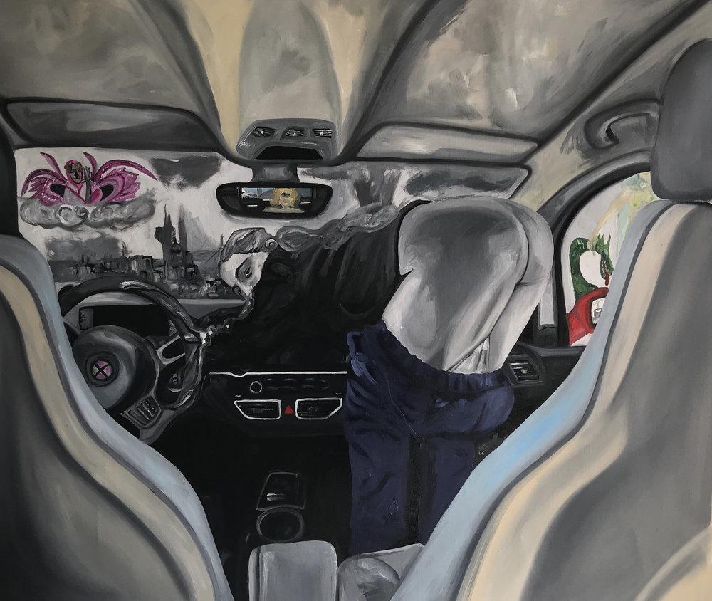 Frieda Toranzo Jaeger   Drive Now  2018 Oil on canvas 95 x 120 cm