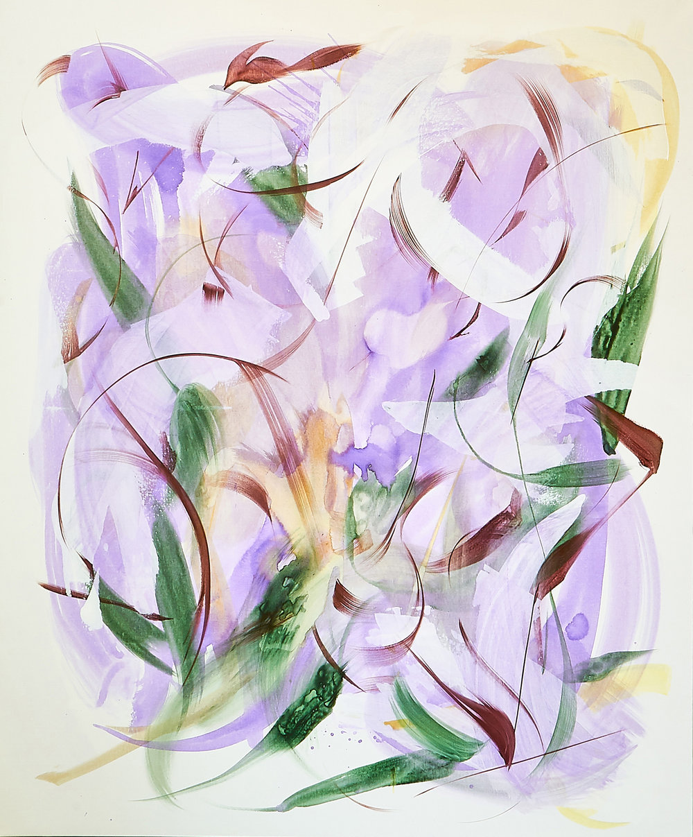 Huang Yanyan   Purple Poem III  2019 Acrylic on Canvas 152.4 x 182.9 cm  Available