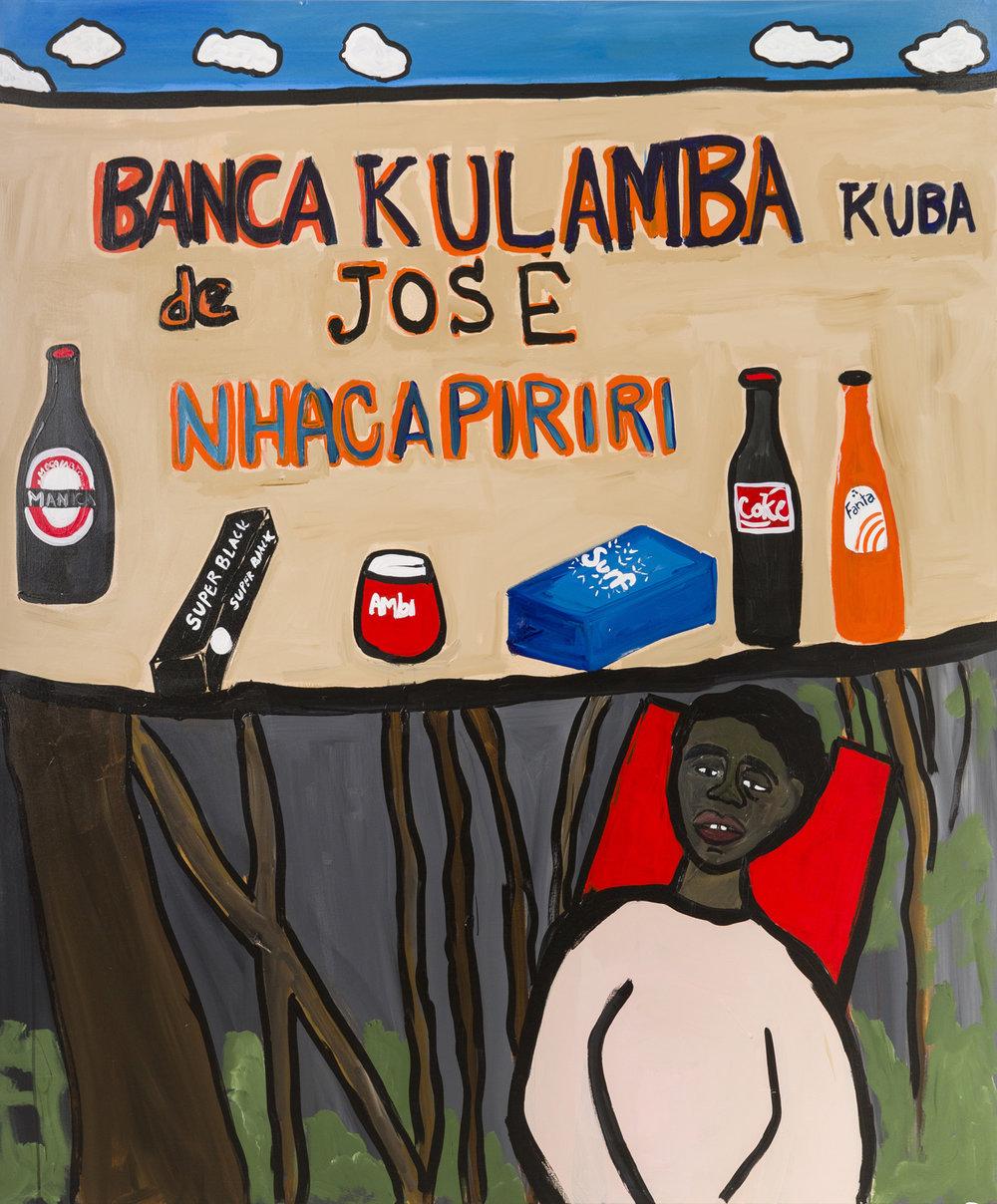 Cassi Namoda   Banca Kulumba  2019 Acrylic on canvas 182.9 x 152.4 cm  Available