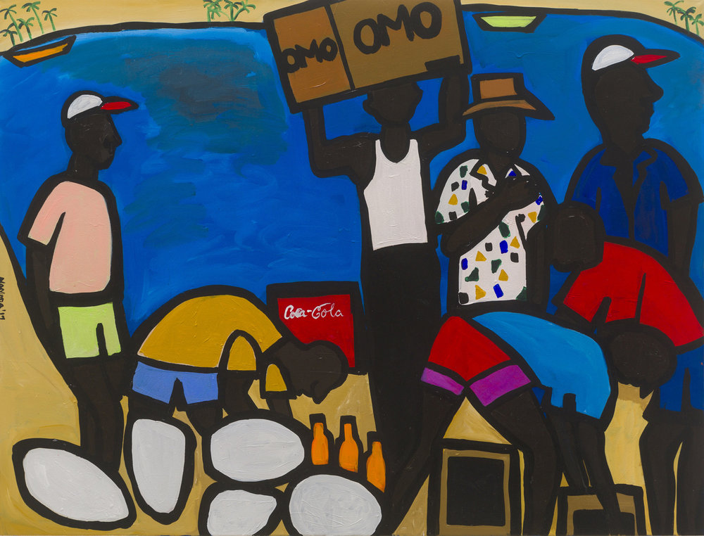 Cassi Namoda   Mozambican Fisherman Preparing a Journey to Sea  2019 Acrylic on canvas 213.4 x 152.4 cm  Available