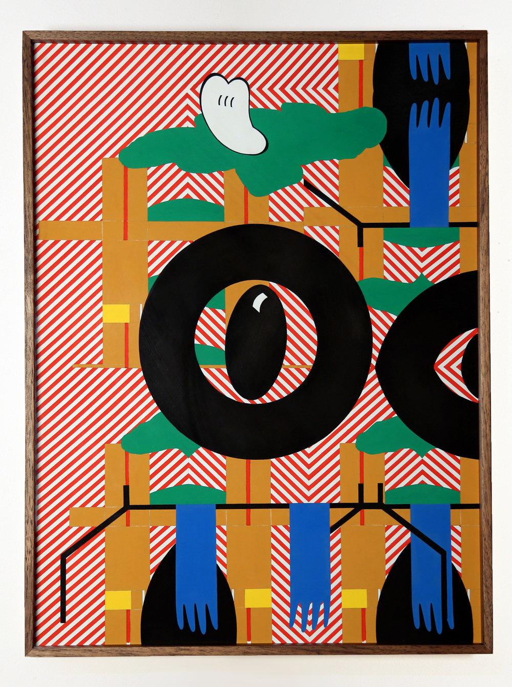 Lauren Davis Fisher   Hazard Rack Tire and Tongue  2019 Gouache on Paper (Walnut Frame) 53.3 x 40.6 cm  Available