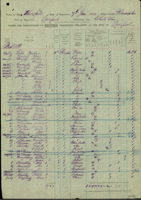 1920  Haverford  passenger list (The National Archives, London, England)