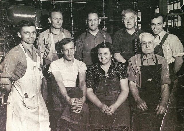 My great-great grandfather Henry Selby Beeney and his co-workers at the Eagle Signal factory in Moline Illinois c. 1940.