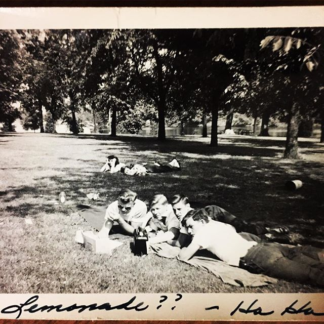 Boys being boys, Illinois circa 1950. Love reading these handwritten notes on old photographs. 🍻