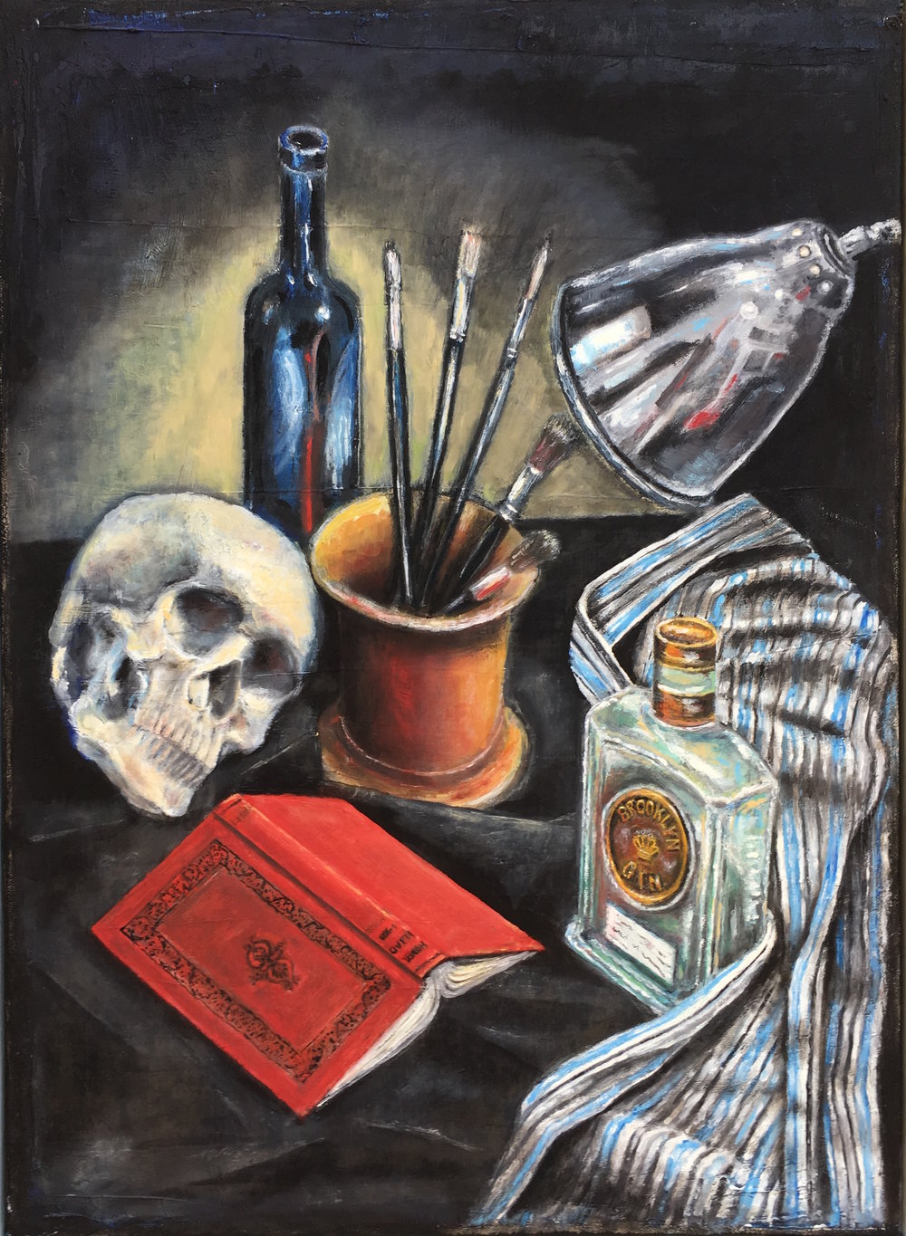 "2014 | Skull and Book | Oil on canvas | 22"" x 16"" (55.9 cm x 40.6 cm)"