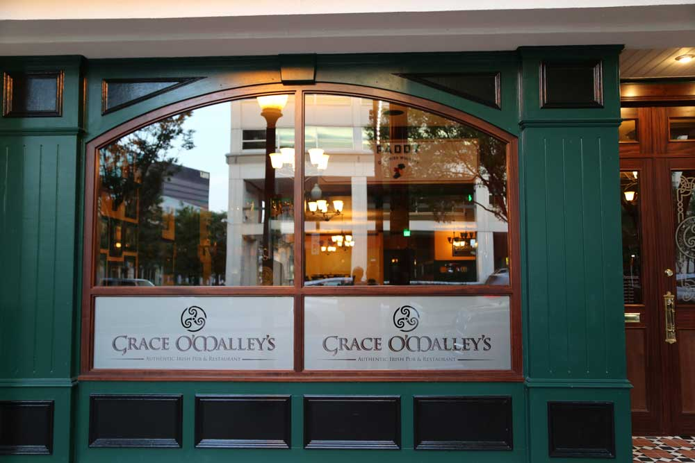 Grace O'Malley's Irish pub design - exterior windows