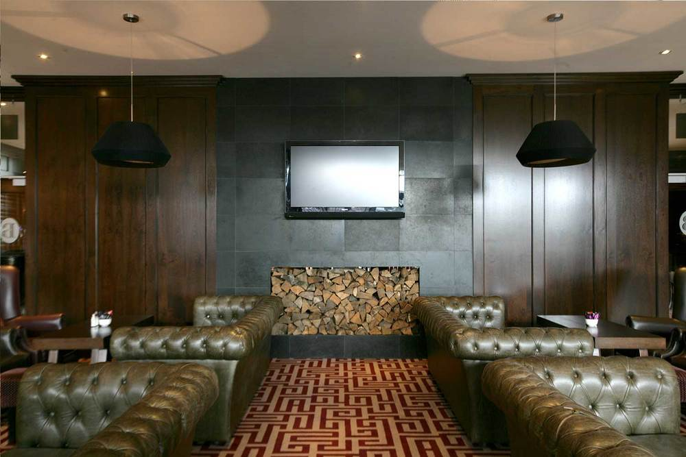 Bewley's Hotel Bar design - Interior seating area, lobby style with dark wood