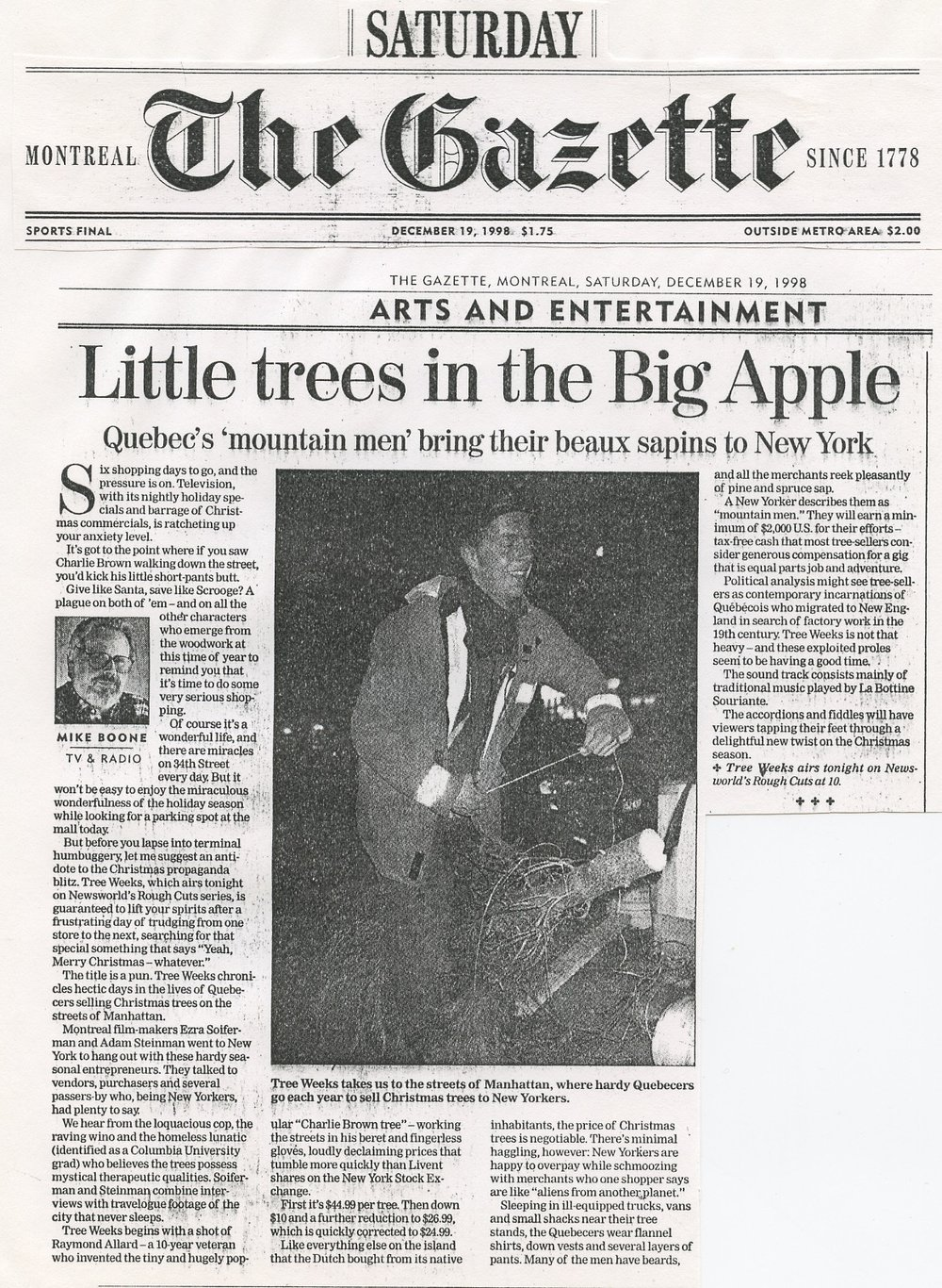 """Tree Weeks"", documentary - Montreal Gazette, 1998"