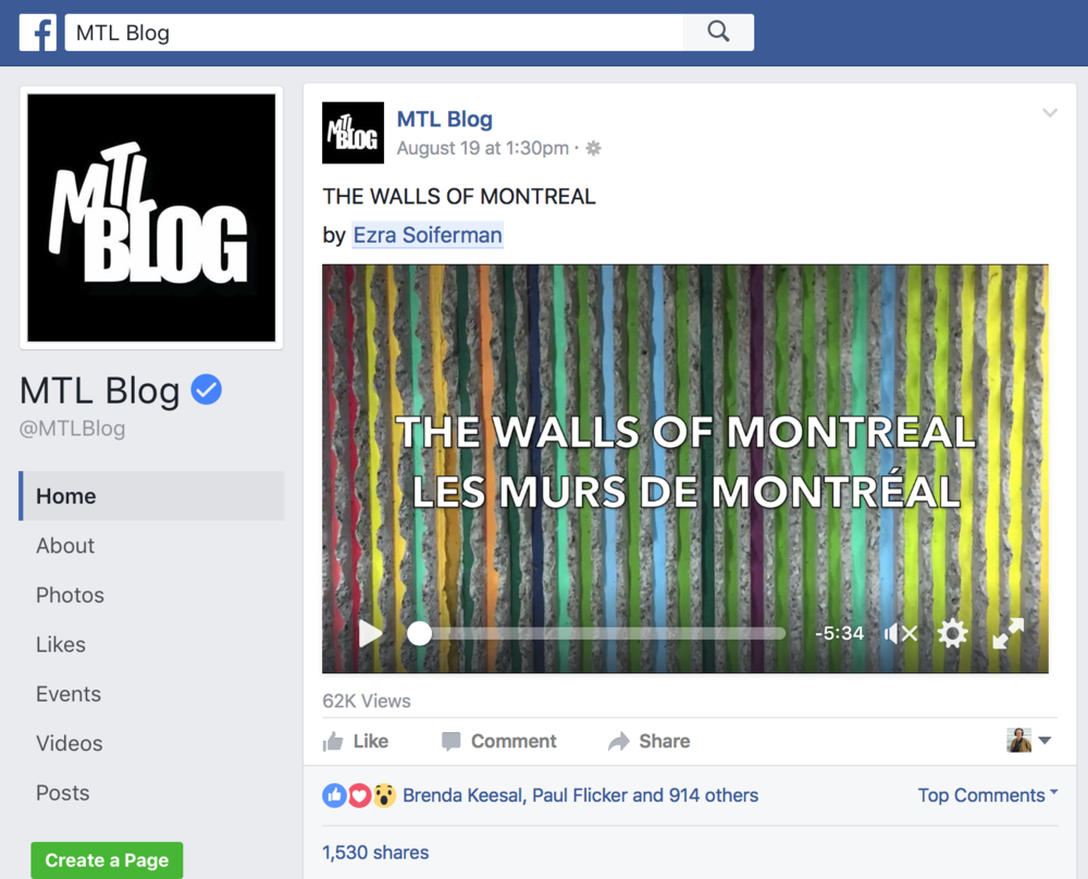 """The Walls of Montreal"", music photeo - MTL Blog, 2016 -  62,000+ views of video on Facebook"
