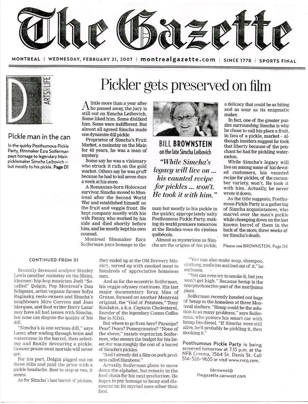 """Posthumous Pickle Party"", documentary - Montreal Gazette, 2007"