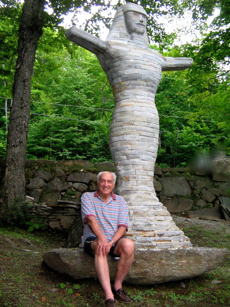 "Harry in front of ""Venus in the Half Shell"" up at his family's country home in Lake Patrick, QC, in 2008."