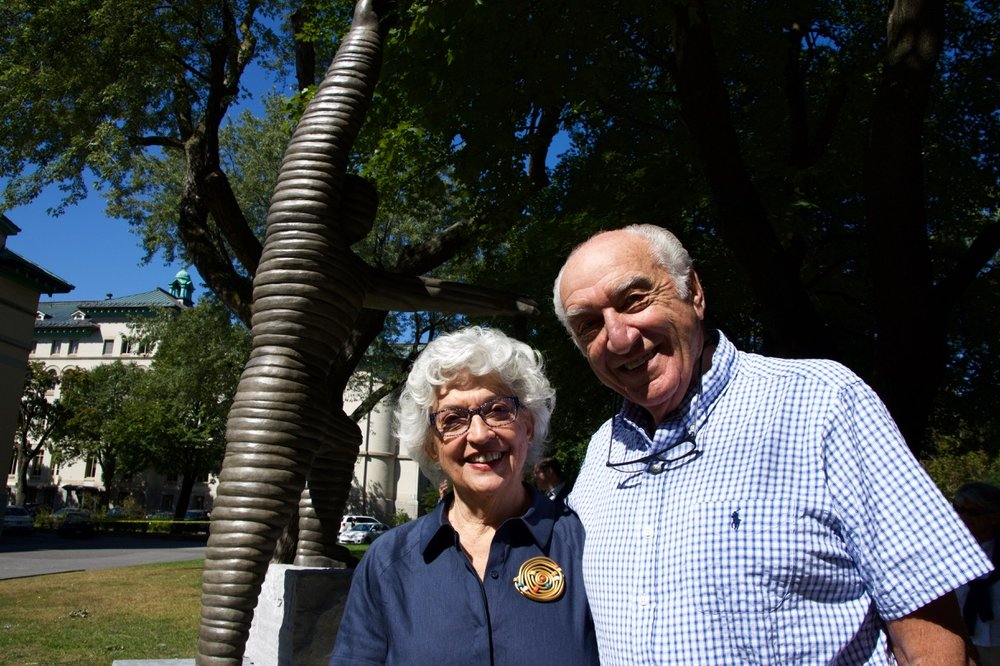 "Harry and his wife Delores at the inauguration of ""The Climber"", Dawson College, 2017"