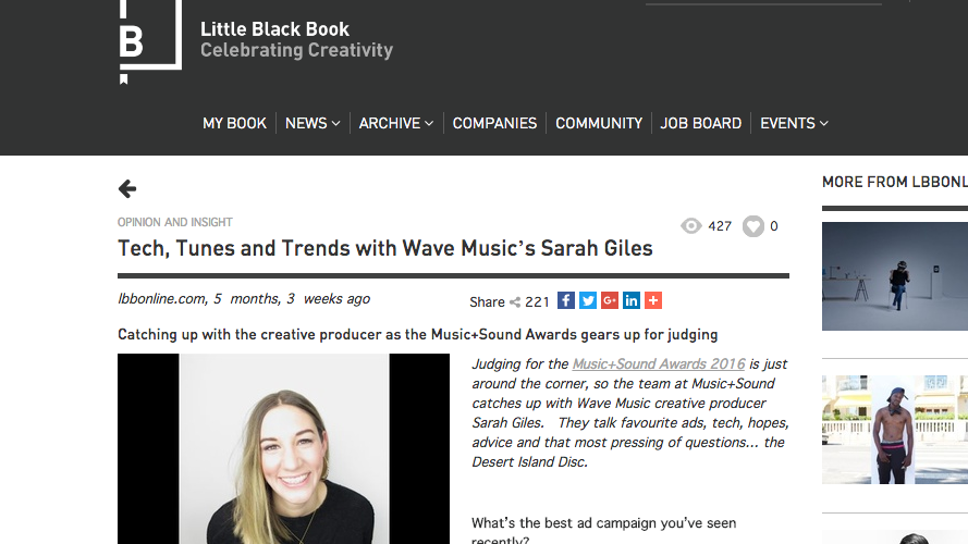 Felt proud to have been interviewed by the Music & Sound Awards / LBB Online recently - see the full article here:   www.lbbonline.com/news/tech-tunes-and-trends-with-wave-musics-sarah-giles