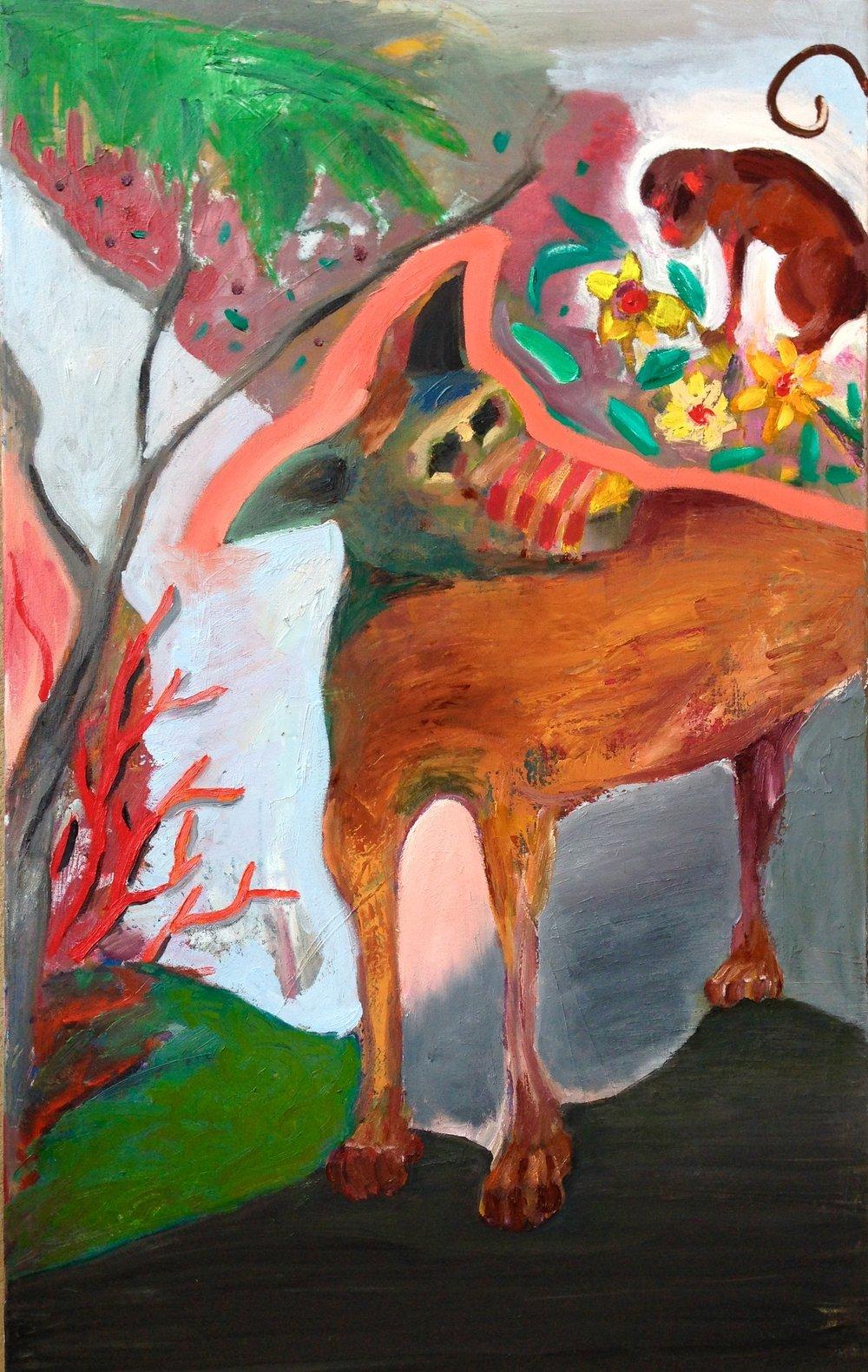 """""""El Perro y el mono"""" 40""""x25"""" oil on canvas, 2016"""