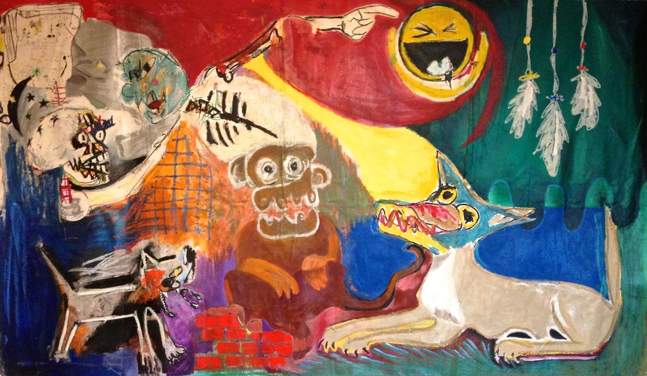 """""""nightmare of the monkey"""" 90""""x50"""" oil, paper collage on canvas, 2017"""