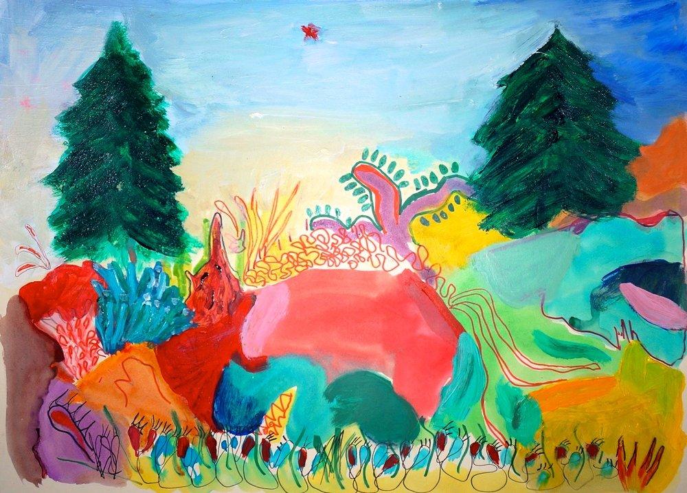 """La maleza"" 20""x16"" oil, watercolor, marker on paperboard, 2017"