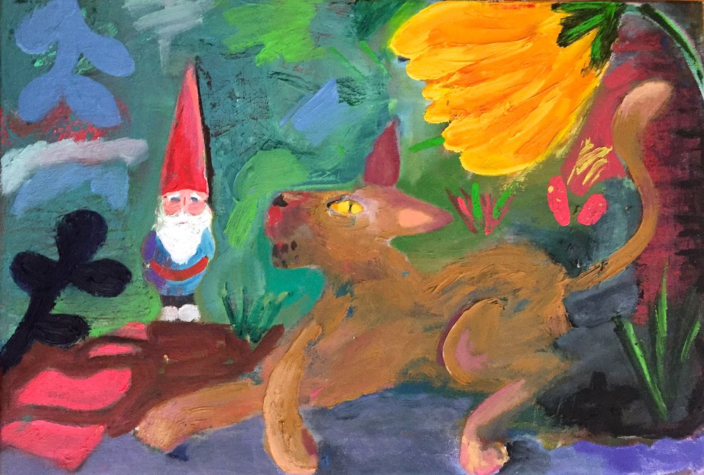 """The gnome and the cat"" 22""x15"" oil on canvas, 2017  $200"